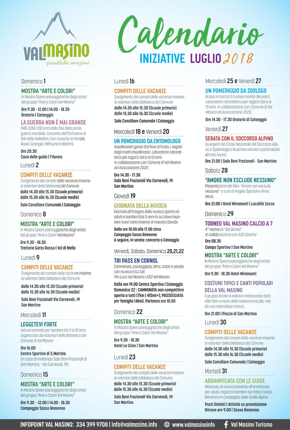 Birre Medie Calendario.Calendario Iniziative Luglio 2018 Val Masino