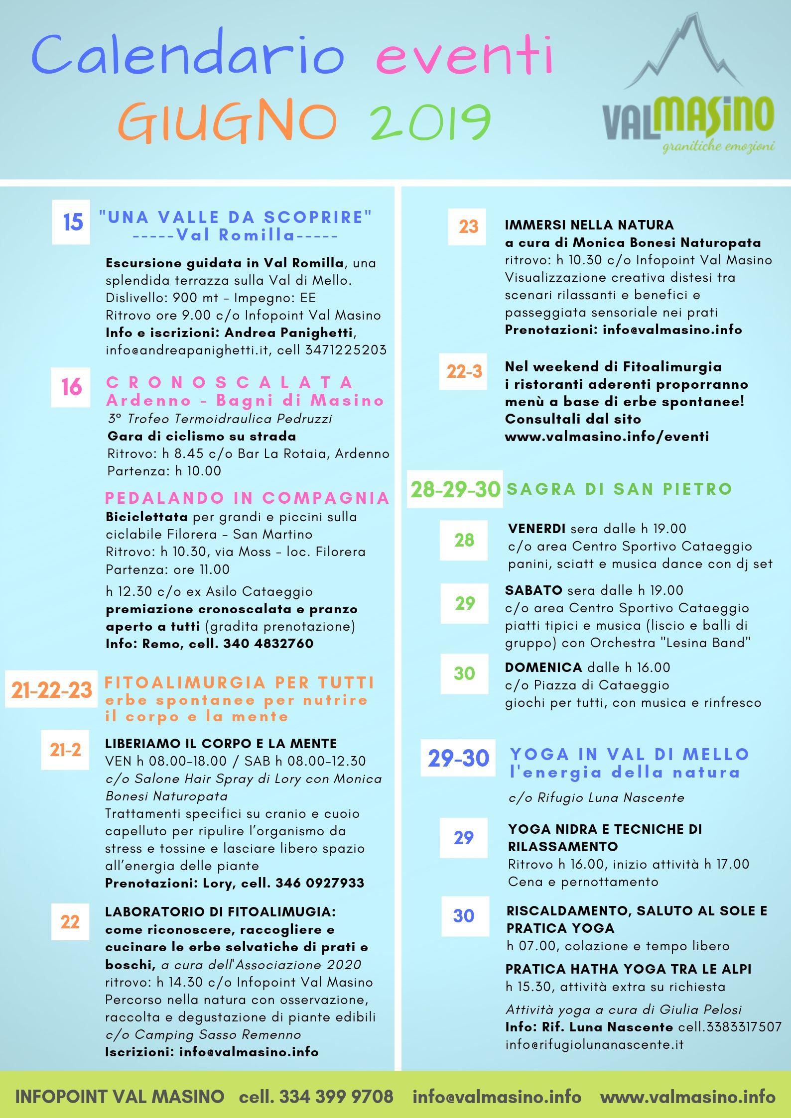 Calendario Sagre.Calendario Eventi Giugno 2019 Val Masino